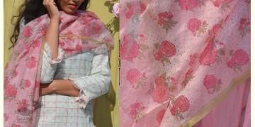 Gulshan ✿ Kota Silk Block Printed Rose Dupatta ✿ 9