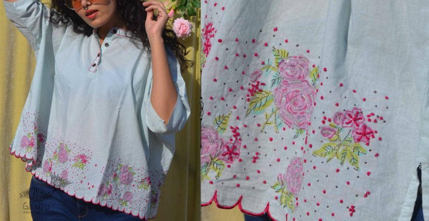 Gulshan ✿ Hand Embroidered Freesize Rose Top ✿ 9
