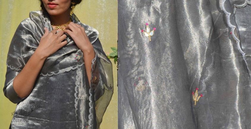 Gulshan ✿ Tissue Silk Rose Metallic Stole ✿ 14