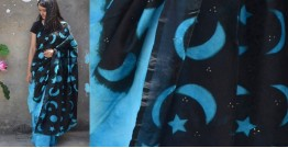 Harini ☙ Chanderi Clamp Dyed & Hand Embroidered ☙ Night Sky Saree. ☙ 5