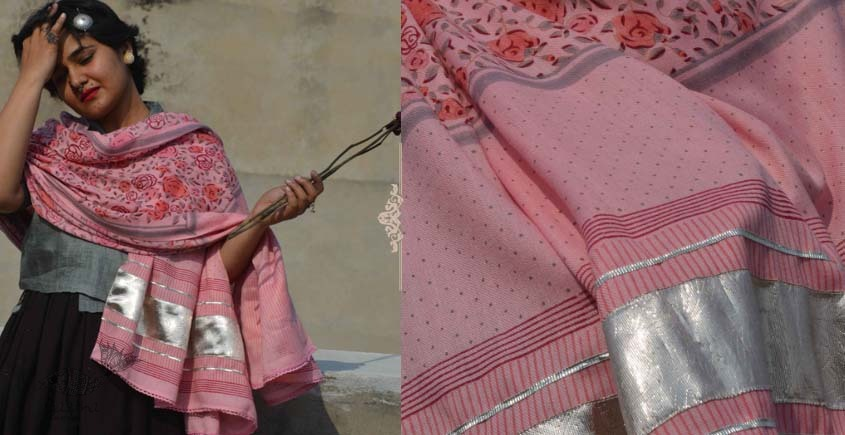 Gulshan ✿ Block Printed Woolen Shawl ~ 4