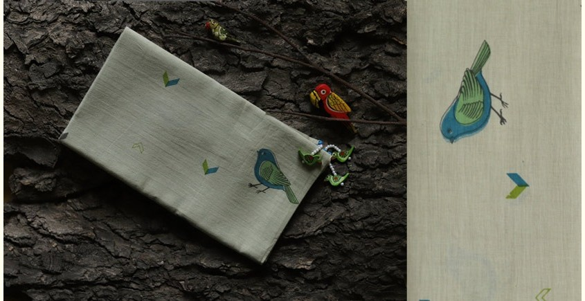 hand loom Cotton Stole sparrow Motif