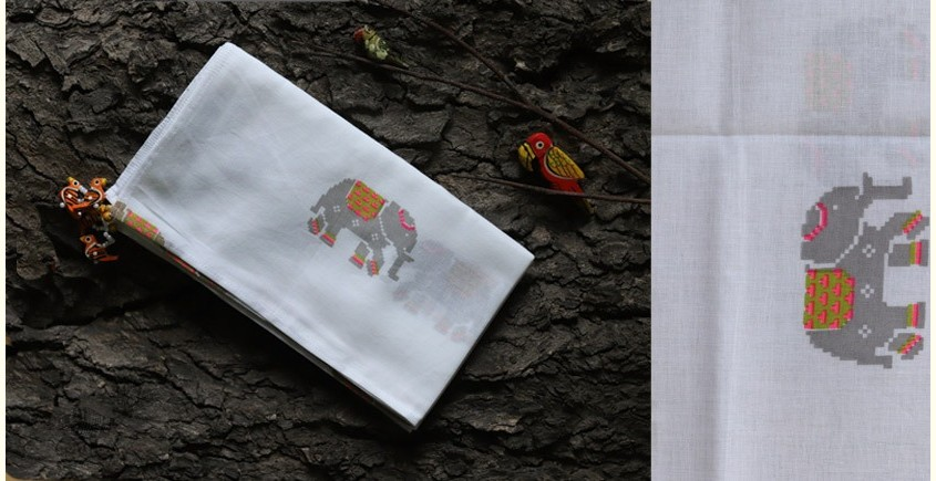 hand loom Cotton Stole - Elephant motif in white stole