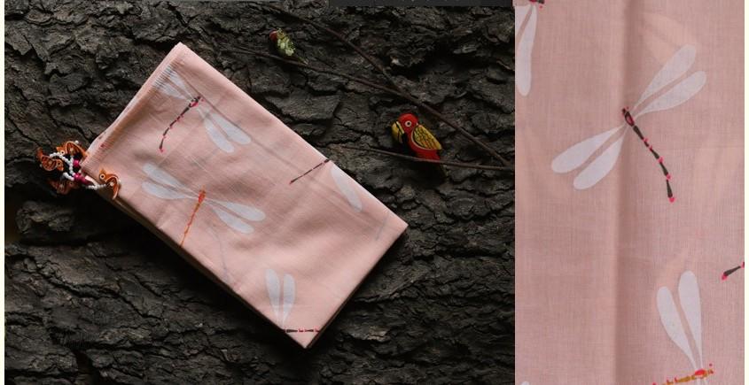 hand loom Cotton Stole - light peach color