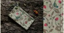 hand loom Cotton Stole - Bird and strawberry motif in gray stole
