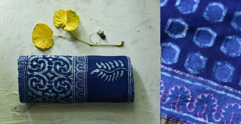 पलक ⚛ Dabu Printed . Embroidered Chanderi Saree ⚛ 1