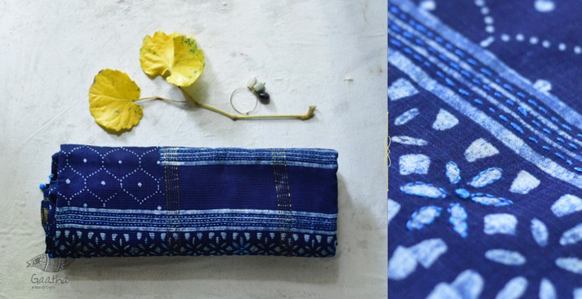 Beautiful dabu print Maheshwari Saree with embroidery in Royal blue color