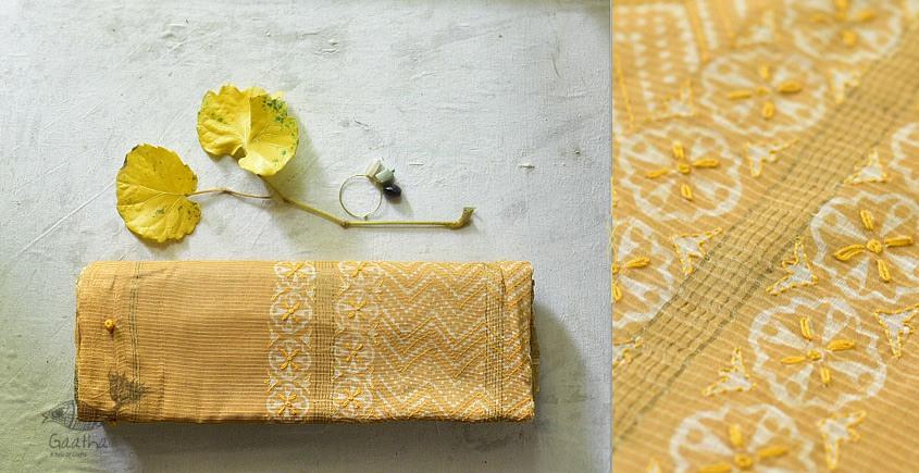 Beautiful dabu print Maheshwari Saree with embroidery - yellow