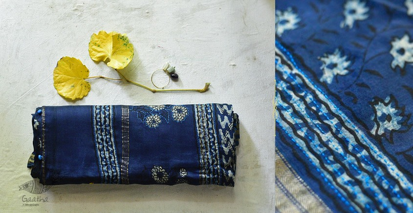 पलक ⚛ Dabu Printed . Embroidered Maheshwari  Saree ⚛ 15