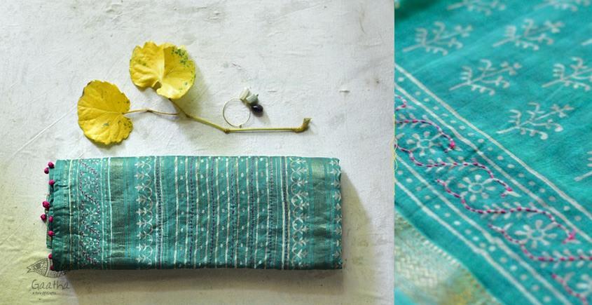 Beautiful dabu print Maheshwari Saree with embroidery