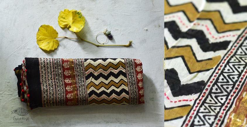 पलक ⚛ Dabu Printed . Embroidered Chanderi Saree ⚛ 2