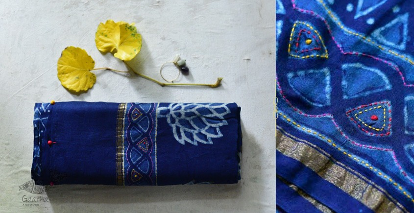 chanderi Saree with embroidery - Block Printed - triangle design