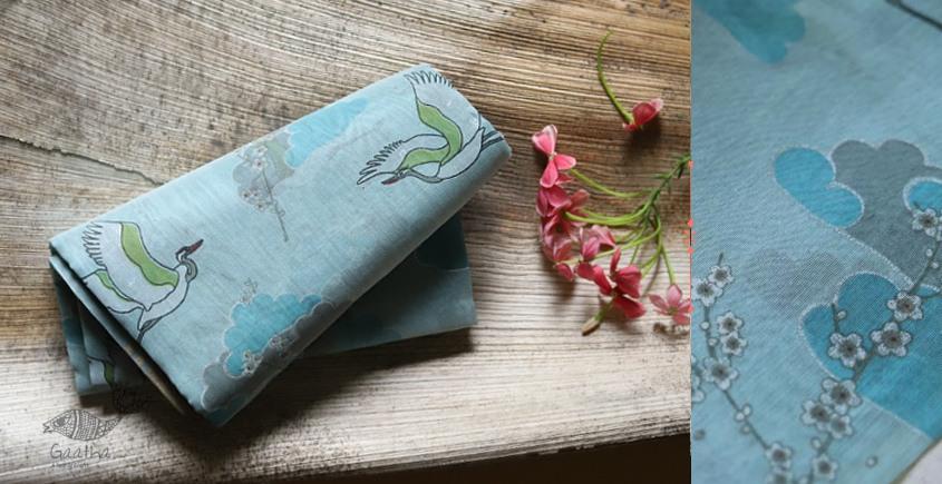 Handloom beautiful chanderi  Printed Saree - Crane Bird Motif in sky blue color