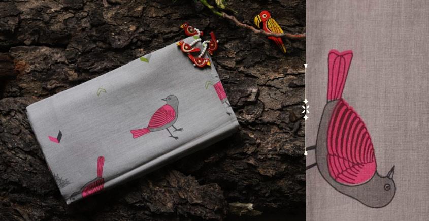 Cotton stole - Printed pink bird motif