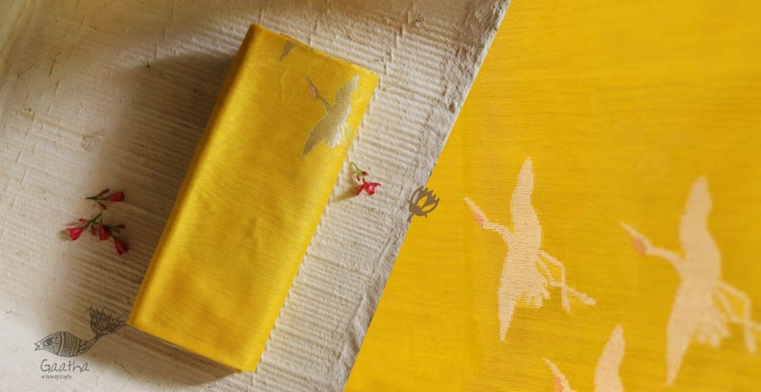 Yellow chanderi silk Dupatta - swan motif