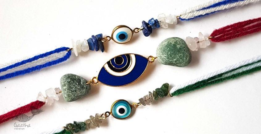 shop Bold Blue Evil  Eye Rakhi (Set of 3)