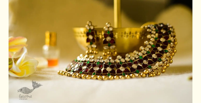 श्रीरूपा    Silver Necklave with Earring   Sanjh ~ 50