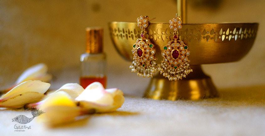 handmade Kundan Pure Silver Earring with moti kaam