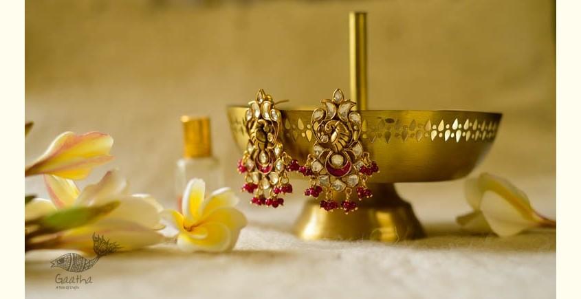 handmade Kundan Moor design earring
