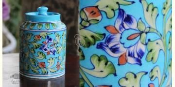 Atasi ⚘ Blue Pottery Terquoise Floral Sugar Jar ⚘ K