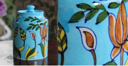 Atasi ⚘ Blue Pottery Terquoise Grass Sugar Jar ⚘ L