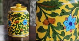 Atasi ⚘ Blue Pottery Yellow FLoral Sugar Jar ⚘ M