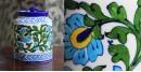 Atasi ⚘ Blue Pottery White Green Leaf Sugar Jar ⚘ N