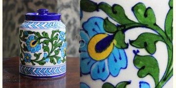 Atasi ⚘ Blue Pottery White Green Leaf Sugar Jar ⚘ N