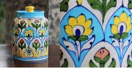 Atasi ⚘ Blue Pottery Rose Floral Sugar Jar ⚘ O