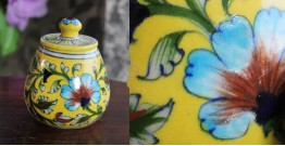 Atasi ⚘ Blue Pottery Yellow Leaf Sugar Pot ⚘ P
