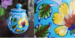 Atasi ⚘ Blue Pottery Green Leaf Sugar Pot ⚘ R
