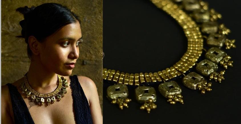 handmade dholra brass necklace
