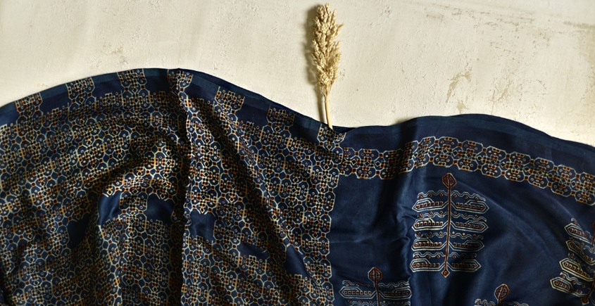 2020 New Collection of Modal silk ajrakh Blue saree  with geometric patterns