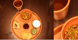Mittihub ☢ Terracotta ☢ Dinner Set - ( 2 small bowls, 1 glass & 1 thali )