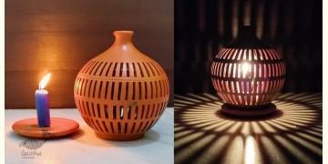 Mittihub ☢ Terracotta ☢ Tea Light Holder - Semi Oval Rectangle Cuts
