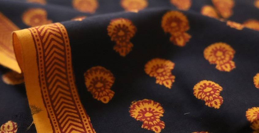 shop online bagh printed Cotton Kurta Fabric- black and yellow