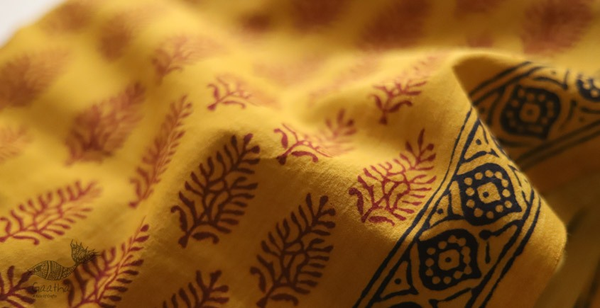 shop online bagh printed Cotton Kurta Fabric - yellow color