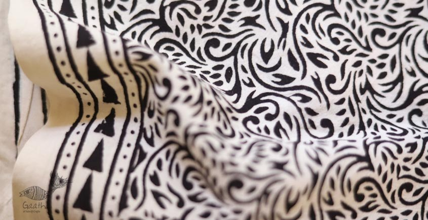 shop online bagh printed Cotton Kurta Fabric - cream and black print