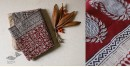 shop online Bagh Block printed cotton maheshwari saree with zari border  red and white print