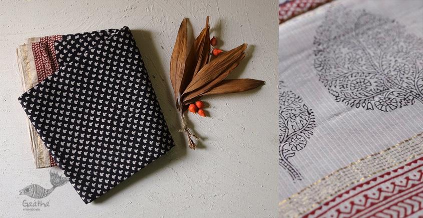 shop online Bagh Block printed cotton maheshwari saree with zari border black dots