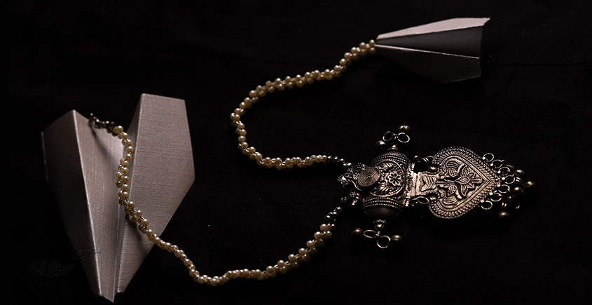 रेवती ✽ Peacock Leaf Motif Pendant with Pearl Chains ✽ Necklace ✽ 17