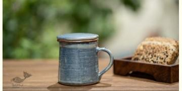 Nakshikathaa ✠ Blue Washed Mug with Filter & Lid