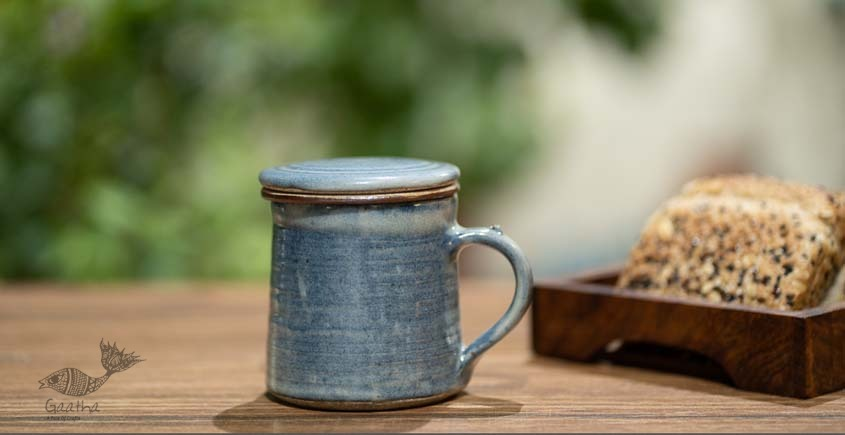 Blue Washed Mug with Filter and Lid