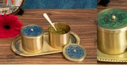 Nakshikathaa ✠ Brass Condiment Jars with Tray & Spoon ✠ 3