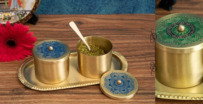 shop online Brass Condiment Jars with Tray and Spoon