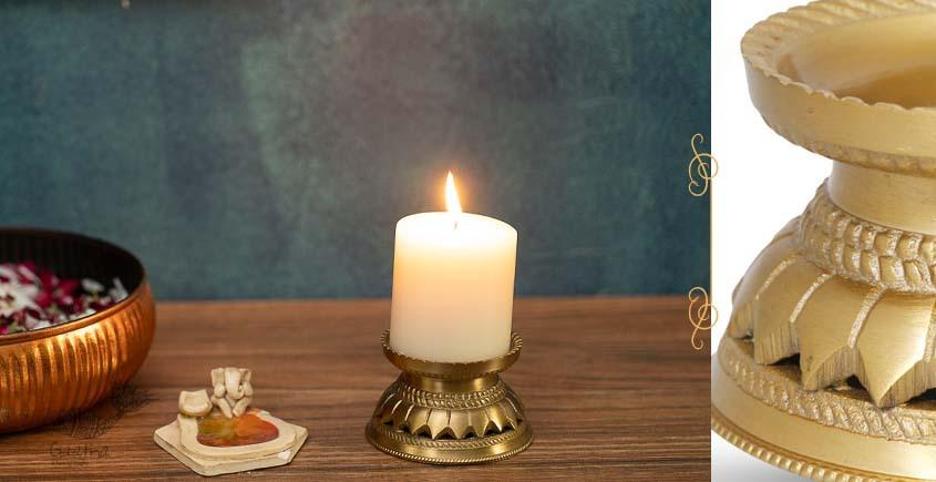 Mandala Candle Stand (Gold Finish)