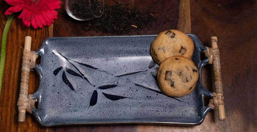 Rectangular Platter with Cane Handle (Light Blue)