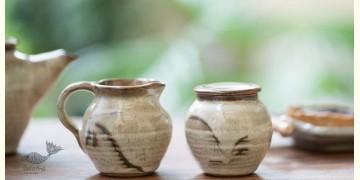 Nakshikathaa ✠ Sugar pot and Milk Jug (Off White/Brown)