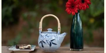 Nakshikathaa ✠ Teapot with Cane Handle (Blue)