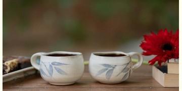 Nakshikathaa ✠ White and Blue Cups (Round base) - Set of 2